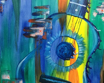 Original Acrylic on canvas Melting Acoustic Guitar