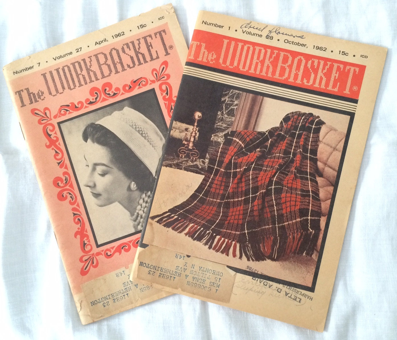 Two Vintage Issues of the Workbasket Magazine, April & October 1962 ...