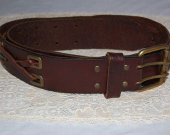 "Vintage oxblood deep brown leather belt with solid brass buckle small size 1.75"" wide by 35"" long"