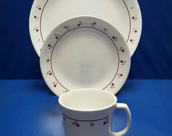 Corelle Dinnerware - Burgundy Rose pattern
