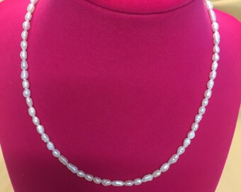 White Rice Shaped Pearl Necklace