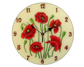 Red Home Decor Accessories funky home decor fun accessories rocket design 5 Poppy Wall Clock Large Vintage Red Home Decor Unique Glass Painting Silent Red Clock Wedding Gift