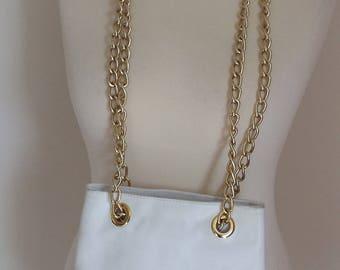 White and gold vintage leather shoulder bag with chunky chain straps