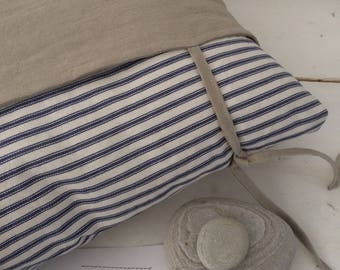 Natural envelope cushion with ties, black or navy ticking inner sleeve available.