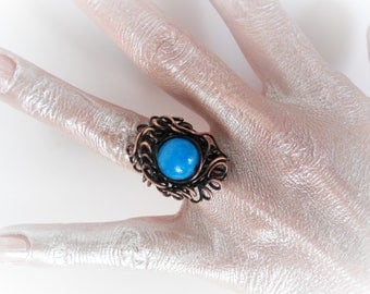 Handmade Copper Wire Ring, Adjustable ring, Handmade Unique ring, Rustic ring, Art ring, Stone ring, Boho ring, Statement ring