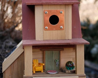 Unique Birdhouses, Solar Birdhouse, Wooden Birdhouses, Gift for Her, Mother's Day Gift, Housewarming Gift, songbird, wren, cabin, functional