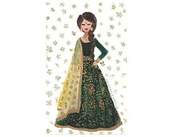Fashion Art Print - Lady In Emerald - Indian Fashion - Fashion Illustration - Wedding Art - Indian Art - Indian Watercolour - Green Fashion