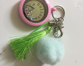 Disney Tinker Bell Key Chain/Bag Tag- Floating Charm Locket