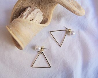 Handmade golden Personalize,Triangle Earrings,Symbol Earrings,Stud Earrings,Triangle Earrings