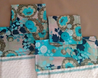 2 Blue and Green Floral Hanging Dish Towel