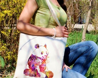 Panda tote bag -  Panda shoulder bag - Fashion canvas bag - Colorful printed market bag - Gift Idea