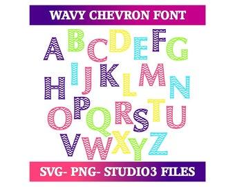 Wavy Chevron Font | Cut Files-svg, png, studio3 file formats.
