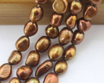 "8-9 mm BAROQUE Pearl Beads, Baroque FreshWater Pearl Beads, Cultured, coffee Baroque Pearl Beads About 36 pcs One Full Strand 15""-NS-028"
