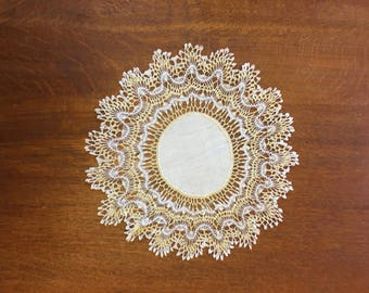 Vintage Yellow and White Doily with Linen Center