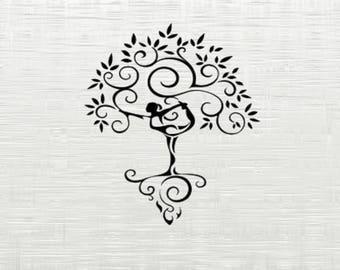 Yoga tree, Yoga SVG, DXF cutfiles, svg files for silhouette cameo, cricut explore, dxf file, yoga,