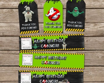 Ghostbusters Birthday, Ghostbusters Tags, Ghostbusters Party Theme, Water Bottle Labels