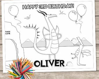 dragons love tacos personalized birthday party coloring page