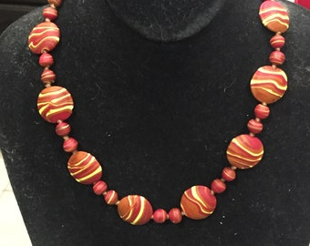 Burnt orange and yellow sandblasted necklace