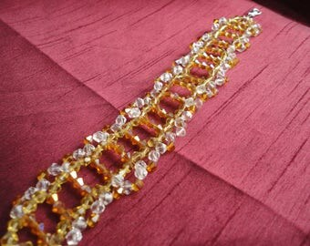 Golden Glamour Beaded  Cuff Bracelet