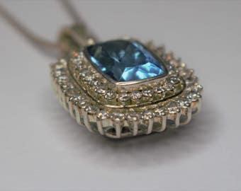Pendentife Silver 925 set with white Topaz and Blue Topaz