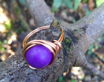 Purple bead copper wire wrap ring