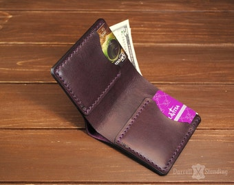 Small leather wallet, plum color slim wallet SW003