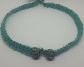 Jute/hemp choker with gold colored wire beads, hemp, necklace, weaved, braided