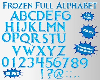 Frozen Full Alphabet, Numbers and Symbols | 43 PNG | 300 dpi | Transparent Background | Frozen Birthday Party
