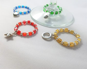 Just the Basics Wine Glass Charms Set of 4