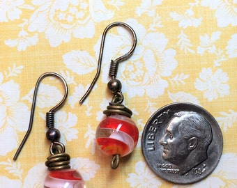 Orange,white swirl glass bead earring