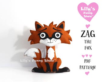Fox Sewing Pattern - Felt PDF pattern--Instant Download- Felt Hand Sewing Pattern- DIY -Plush Felt Pattern - Softies Pattern