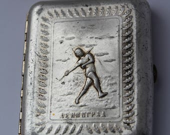 Rare Soviet Cigarette Case Leningrad  USSR. Metal cigarette case USSR. tobacco box. card holder