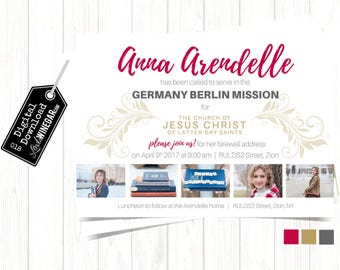 LDS Missionary Farewell Invitation, Elder Sister Called to Serve Announcement  (5 Photo) | Personalized Digital Download 4x6 or 5x7 JPG
