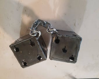 Metal not so fuzzy rat rod dice mirror hanging dice