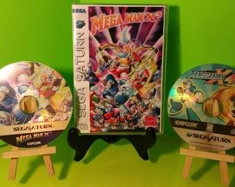 Megaman X3 & x4 Sega Saturn flips reproduction custom case