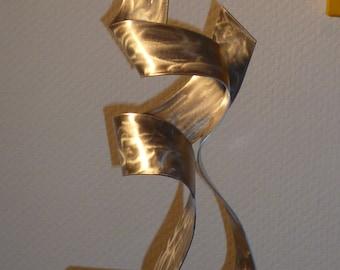 """Large modern abstract wood aluminium artist sculpture """"With you"""" en 34 cm contemporary art sculpture métal Metallinen veistos"""