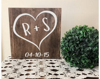 Heart With Initials and Special Date- wedding decor - wedding sign- rustic wedding - heart sign- housewarming gift -personalized sign