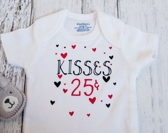 Valentine's Bodysuit for a Girl or Boy, 25 Cent Kisses Onesie, O008
