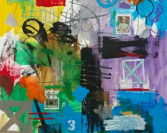 Lynn Carson original abstract, acrylic, pencil collage on paper.