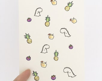 Hand Drawn Pattern Card With Tropical Fruit Theme (blank)