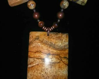 African queen picture jasper necklace - hand made