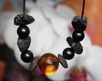 Blockadenlösender protection - EM, magnetite, tourmaline, Carnelian necklace
