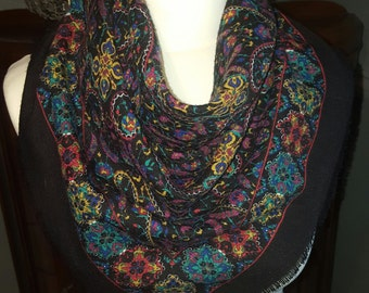 Vintage Floral Multi-Coloured Square Scarf/ Neck-Tie