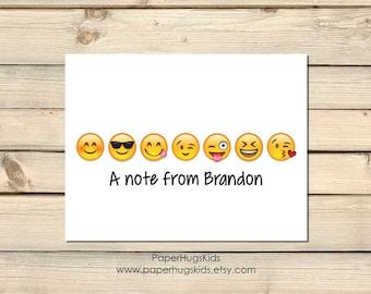 Emoji stationery, emoji Note Cards, Kids Thank You Cards, Personalized Stationery, Kids Note Cards, Sunglasses Emoji / Set of 10