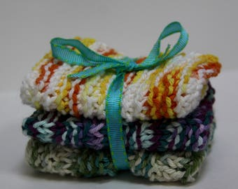 Knit Dish Cloths, Yellow/Blue/Green