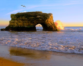 Natural Bridge State Beach-2, Santa Cruz, California USA, Pacific Ocean, Monterey Bay,  - Canvas Gallery Wrap