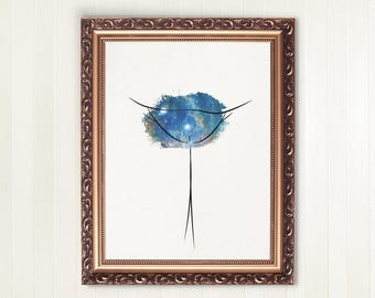 Feminist Poster Blue Galaxy Vulva | printable art, feminist gift, pussy art, body positive art, vulva wall art, queer print, empowering