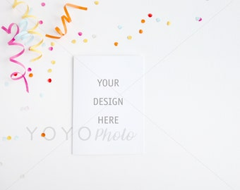 Card Mockup, Party Styled Desktop, Confetti and Streamers Flatlay, Stock Photo, A6 Landscape Card, Stock Photo, White Card Mockup, Streamer