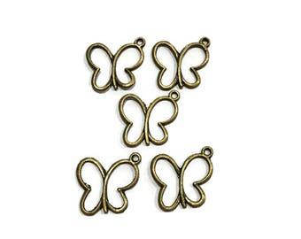 5 pc  Butterfly Hollow Bronze Beautiful Charm Pendant