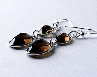 Sterling Silver Smoky Quartz Delight Earrings ELJ002A